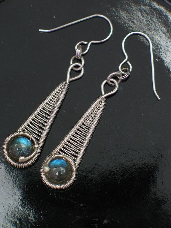 Labradorite Silver Wire Wrap Earrings Wire by PeacebirdStudio, $68.00