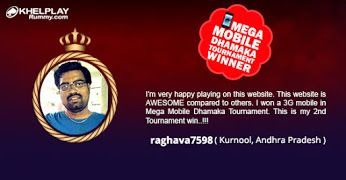 KhelPlay Rummy - Google+Congratulations! To raghava7598 from #AndhraPradesh  on winning Mega Mobile Dhamaka #Tournament  @ khelplayrummy.com ! Play Big Win Big ! #KhelPlayRummy   #Winner   #PlayRummy