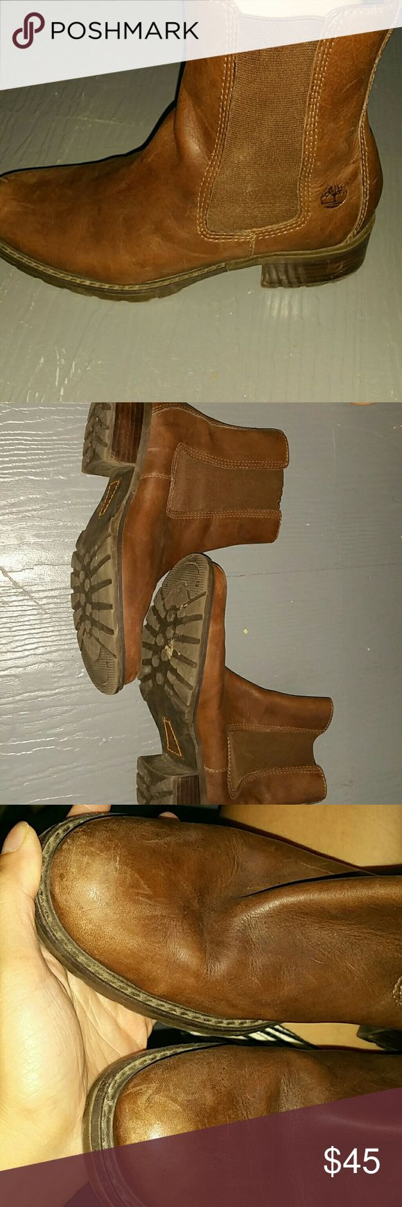 Chocolate Brown Timberland Boots Used good condition leather boots. Size 6.5 genuine leather. Scuffing on front part of boot Timberland Shoes
