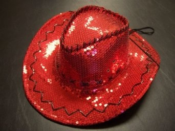 Sequin Covered Cowgirl w/Stitching & Tie-down / Red / Red Hat Lady Society