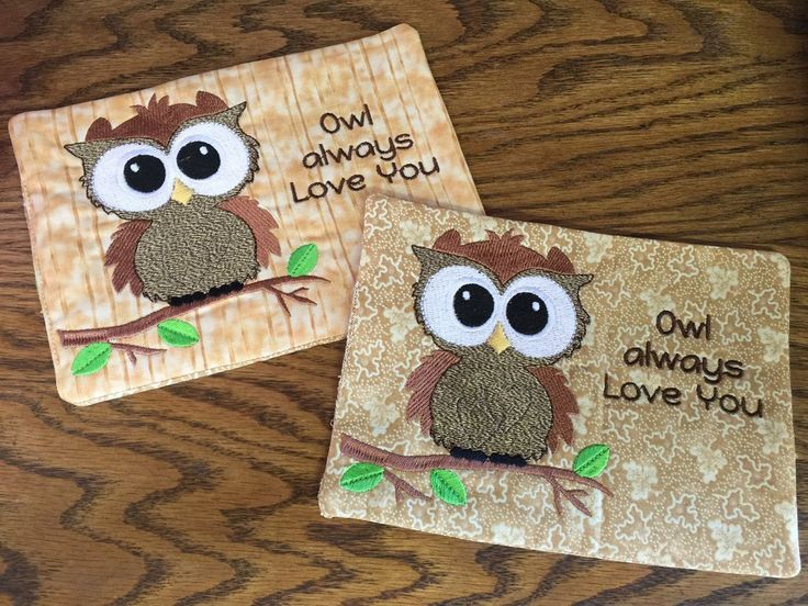 """A Mug Rug is an oversized quilted coaster. It is approximately 5 x 7 inches. It is big enough to hold a coffee mug and a spoon or small snack. This Mug Rug has an embroidered owl and the words """"Owl Al"""