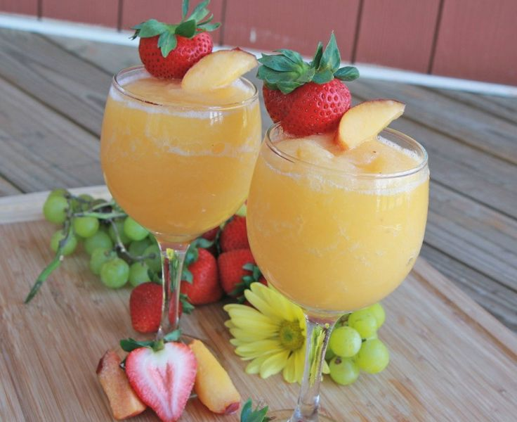Peach Moscato Wine Slushies - you can also make it a non-alcohol drink by using sparkling white grape juice!