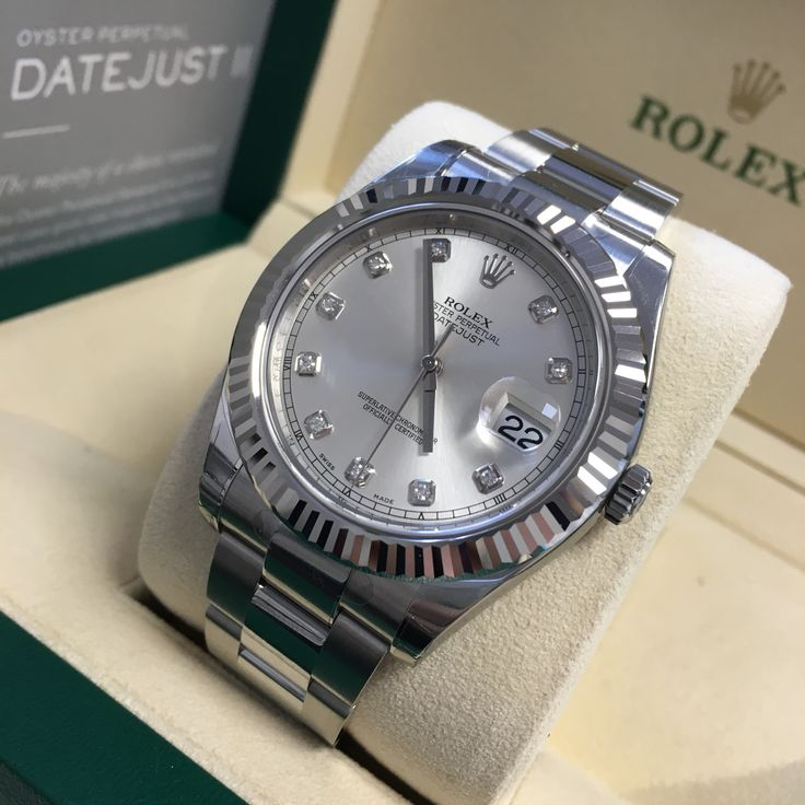 Get some diamonds in your life! Rolex Datejust II Silver Diamond Dial 116334  Check it now!
