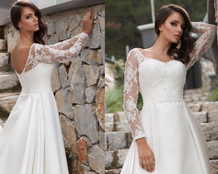 uzun kollu sırt detaylı ve açık, dantelli gelinlik modelleri 2016-sırt dekoltel gelinlikler-nova bella nişantaşı