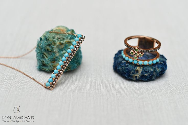 In total spring mood today. Add some color in your life with these colorful turquoise ring and necklace! #KontzamichalisJewellery