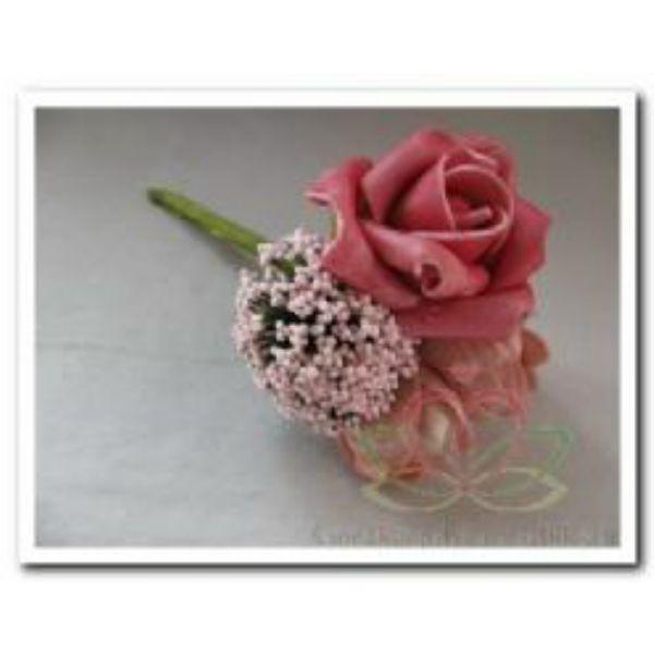 Corsage foam Roos -pick roze / st