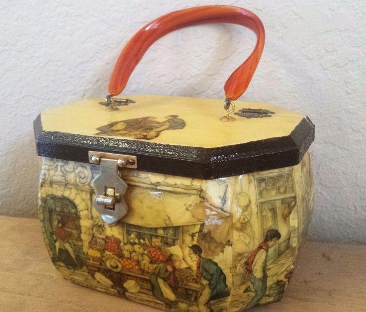 Vintage 1970s Anton Pieck Decoupage Wood Box Purse Moda Beauty Bag Lucite Handle #AntonPieck #Box #Everyday