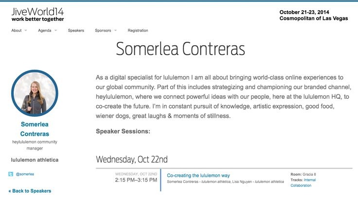 @somerlea  speaking at JiveWorld https://jiveworld.jivesoftware.com/speakers/somerlea-contreras/