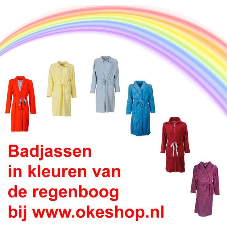 Badjassen in kleuren van de regenboog bij okeshop.nl