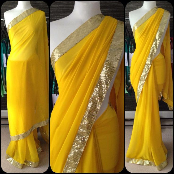Yellow georgette saree with antique gold sequins Comes with blue satin unstitched blouse  MADE BY ORDER ONLY ORIGINAL PRICE : 4500 Rs CALL/WHATSAPP : + 91 9425052960 https://www.facebook.com/StyleMee/photos/a.353815694702961.85020.352223348195529/623342294416965/?type=1&theater
