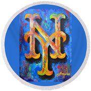 New York Mets Baseball Round Beach Towel