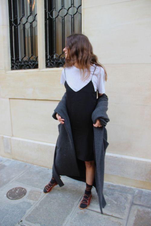 C O C O B E A U T E A high necked white top under black spaghetti strap camisole cami dress 90s grunge street style inspo