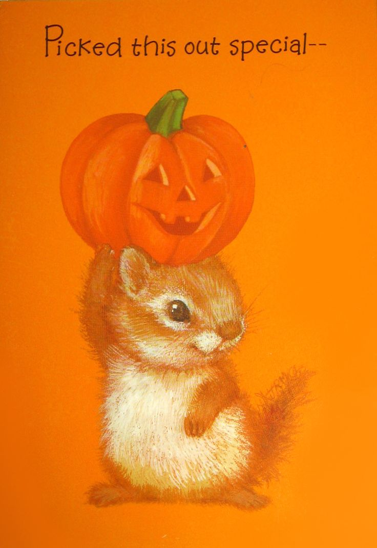 Vintage Chipmunk Halloween Card