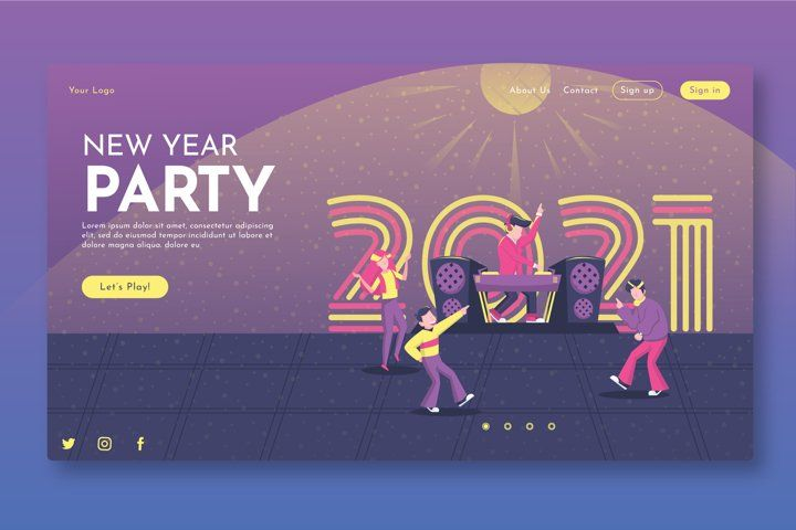New Year Party Landing Page Gr 1078366 Websites Design Bundles In 2021 New Years Party Landing Page Design Template