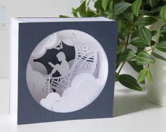 Papercut Template Tunnel card Ok Instant by PaperGardenGifts