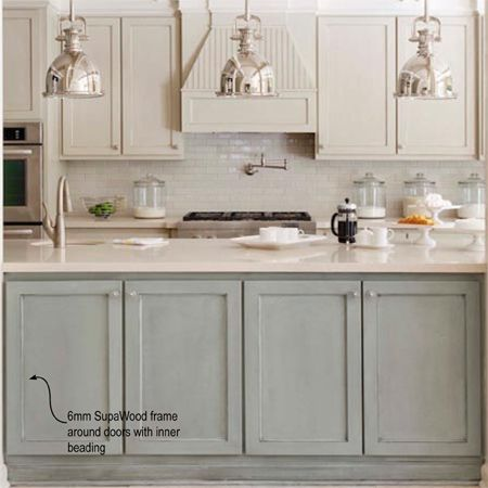 Plain white melamine kitchen goes coastal