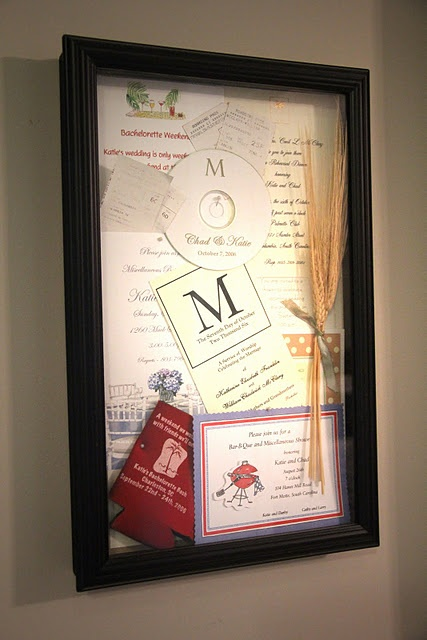Shadow box of things from your wedding ~ wedding invite, shower invite, tickets from honeymoon, sprig of wheat from centerpiece....fun idea!
