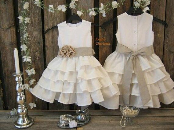 Country flower girl dress. Linen flower girl by englaCharlottaShop