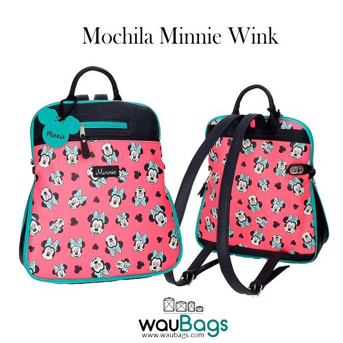 """Bonita, divertida y práctica Mochila """"Minnie Wink"""" de Disney perfecta para llevar tus cosas cargada de muchísimo estilo!!! @waubags.com #disney #minnie #mochila #paseo #complementos #waubags"""