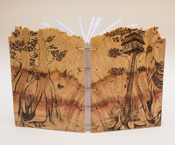 treehouse notebook wooden covers by Lemnivor on Etsy