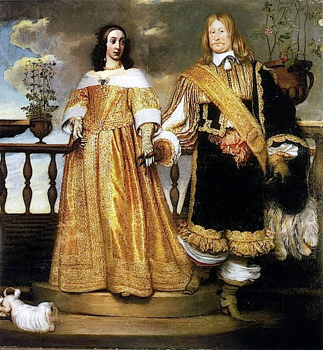1653 Magnus Gabriel De la Gardie och hustru Maria Eufrosyne by Hendrik Münnichhoven This could be a wedding portrait. The waistline is not very different from those worn by Queen Henrietta Maria a few decades earlier.