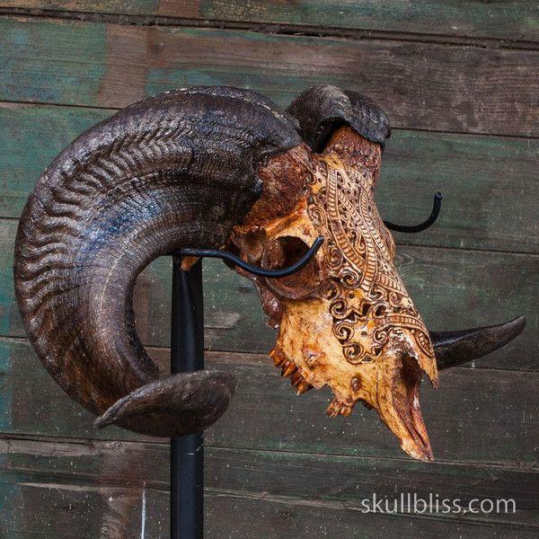 Carved Ram Skull - Tribal #3