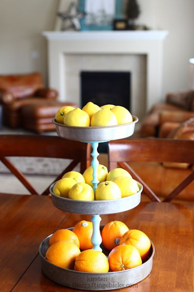 DIY 3 tiered stand: thrift store finds! 3 cake pans, 2 candlesticks and some spray paint. love this for the fruit stand or for jewelry organization!