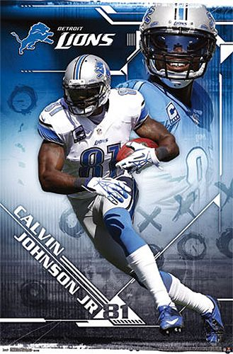 Calvin Johnson ULTIMATE RECEIVER Detroit Lions NFL Action Poster - Costacos Sports 2013