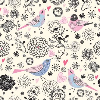 Aves y flores estilo vintage