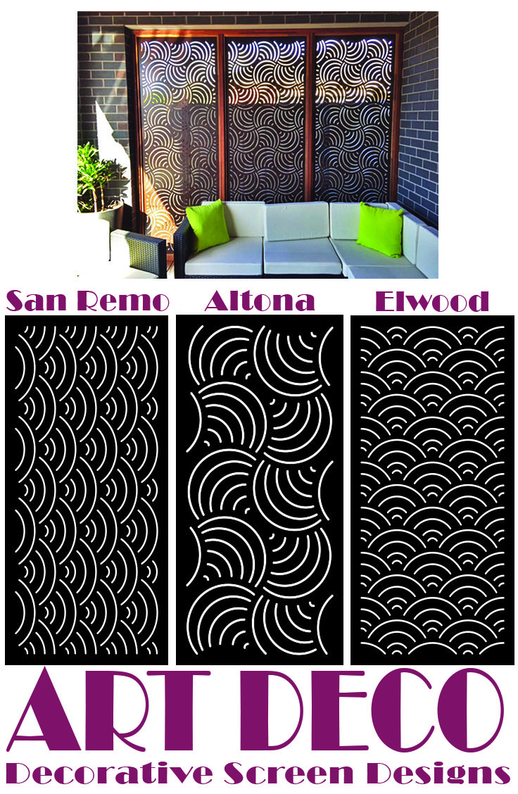 Art Deco laser cut decorative screen designs manufactured by QAQ Decorative Screens & Panels, Melbourne, VIC