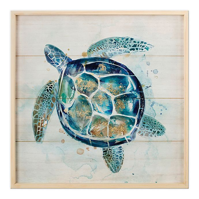 Blue Galvanized Metal Art Sea Turtle Wall Sculpture 19 inch