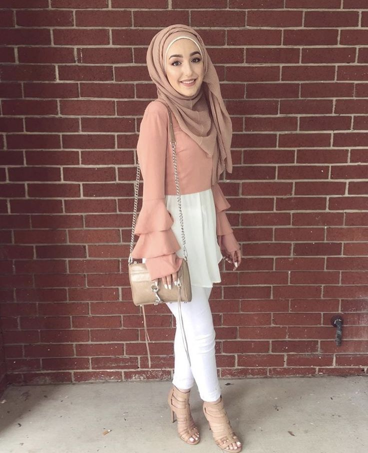 Cute beige and pale pink outfit with ruffles top
