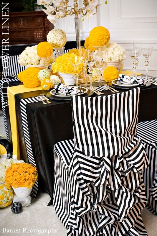 black and white striped linens wildflower linens.  LOVE!!!