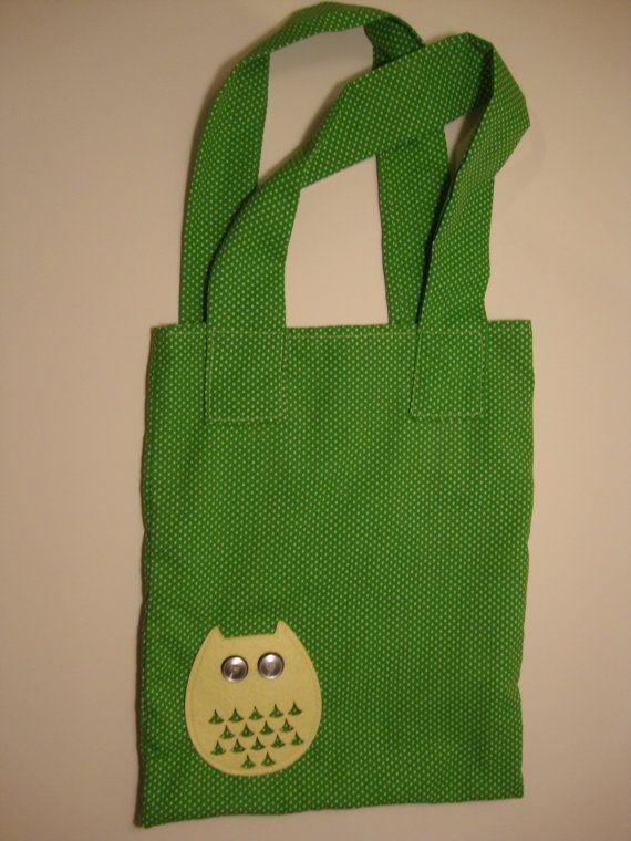 Polka Dot Owl Tote Green by AnnieAndAnnie on Etsy, $15.00