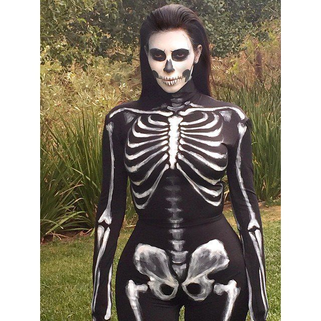 Pin for Later: Look Back at All of Last Year's Memorable Celebrity Halloween Costumes! Kim Kardashian as a Sexy Skeleton