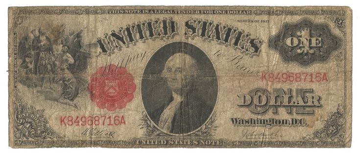 1917 $1 LEGAL TENDER NOTE-G-FR 38m-FREE US SHIP-UNITED STATES NOTE-SAWHORSE MULE