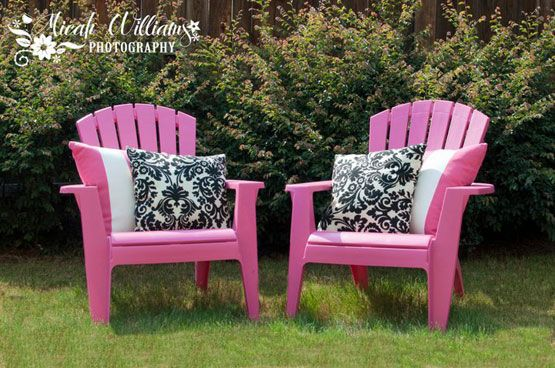 Pink Adirondack chairs are super cheap and you can get them anywhere (Walmart, Target, Winn Dixie, etc...) and make them way more stylish with a plain white pillow and a black and white damask one - both in outdoor safe fabric! This is definately a project to do soon!