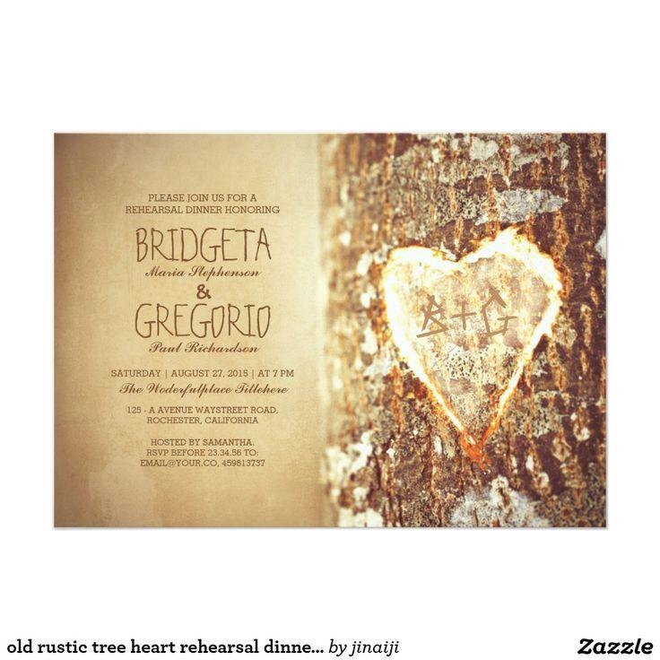 creative wording for rehearsal dinner invitations%0A  old rustic tree heart rehearsal dinner invitations     x     invitation