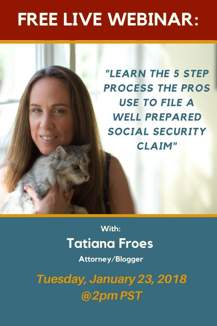 Don't miss this very informative webinar where you will learn how to prepare your Social Security Disability Claim like the pros. If you know anyone who needs this information let them know too. You could be changing someone's life! See you there!