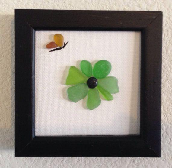 Sea glass art/ Pebble art/ Canvas art/ Framed art/ Flower/ Butterfly/ Unique Gift/ Home decor