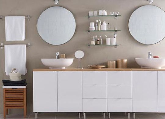 """A bathroom vanity on legs feels more like a free-standing piece of furniture, providing a bit more ""visual breathing room"" in a small space."" - Apt Therapy"