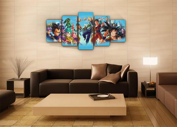 Dragon Ball Z Super Anime Gaming Modern Art Canvas Wall Art Home Decor 5 Pieces