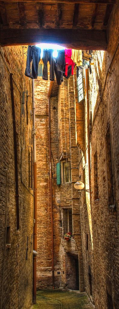 An ancient alley in Urbino, Marche_ Italy