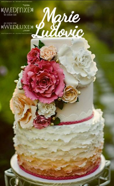love this layered, lacey cake  Customise wedding cake topperrustic wedding cake by CommunicakeIt