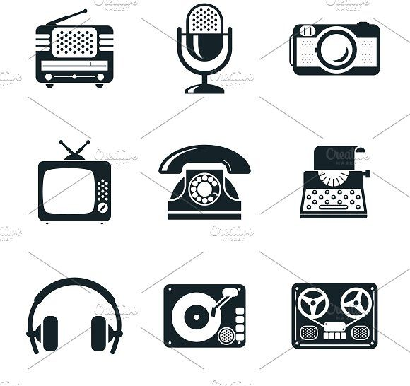 Vintage Device Icons by Microvector on @creativemarket
