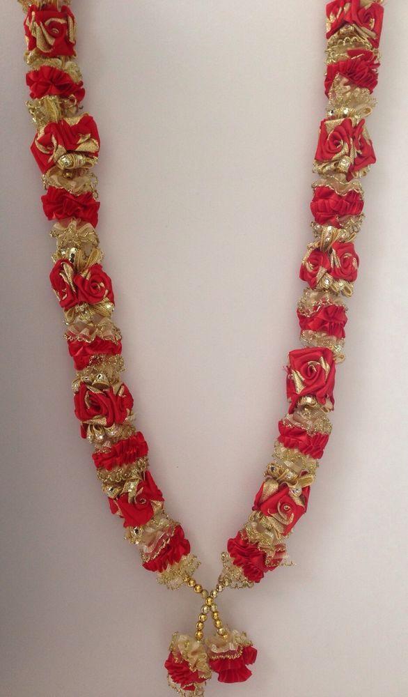 INDIAN BOLLYWOOD WEDDING GROOM BRIDE GARLAND JAIMALA HAAR RED & GOLD HR011