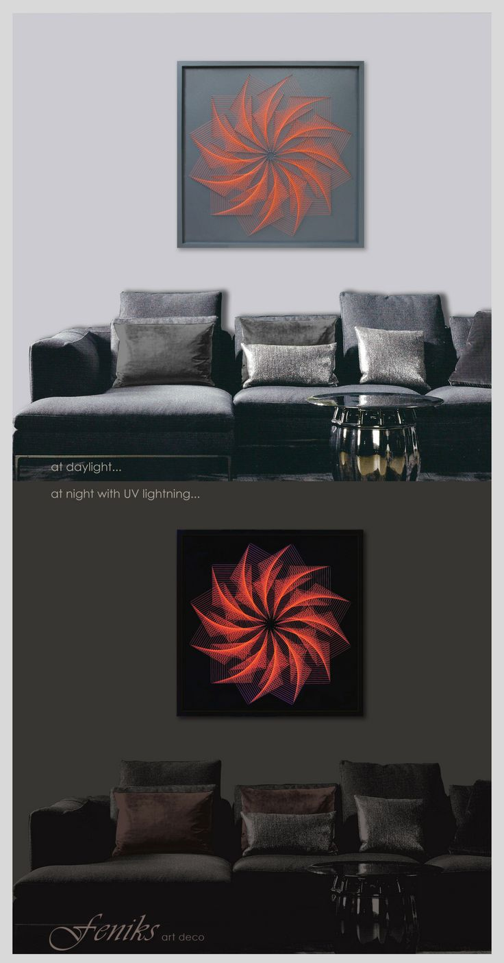 Framed UV Wall Art or Neon Art - Glow in the Night Effect in Dolphin Gray with Orange Strings - for your Home, Office, Lounge Bar, Spa, Coffee Shop , Restaurants, Meditation, Yoga, Zen Center - Request a custom order and have something made just for you.