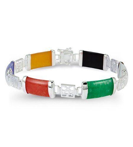 925 Sterling Silver Domed Multiple Gem Jade Bracelet VistaBella. $23.99. Save 79%!
