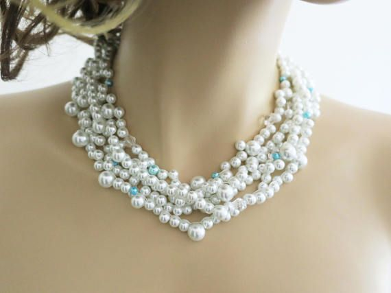 White Pearl Necklace Bridal Pearl Necklace Wedding Necklace Bridal Jewelry Statement Chunky Pearl Necklac Wedding Necklac jewellery