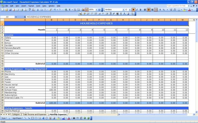 Household Expenses #efile #income #tax http://income.remmont.com/household-expenses-efile-income-tax/  #income and expenditure spreadsheet # Household Expenses This is basically just a strip version of my household budget spreadsheet where it is only can be used to track and record your expenses without budget consideration. It consist of three worksheets, category worksheet, daily income and expenses worksheet and monthly expenses worksheet. You can start to […]